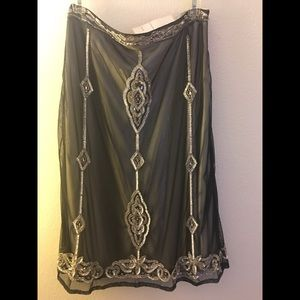 """Beaded skirt size large black and silver 32"""" waist"""